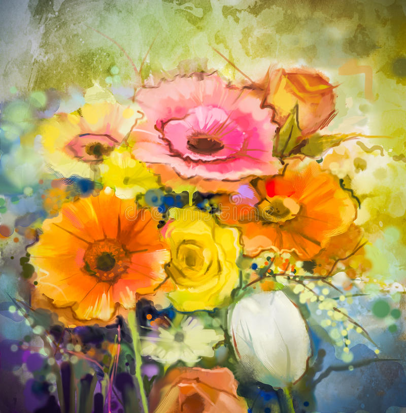 Vattenfärgmålningblommor Räcka målarfärgstillebenbuketten av guling, apelsinen, den vita gerberaen, steg, tulpanblommor royaltyfri illustrationer