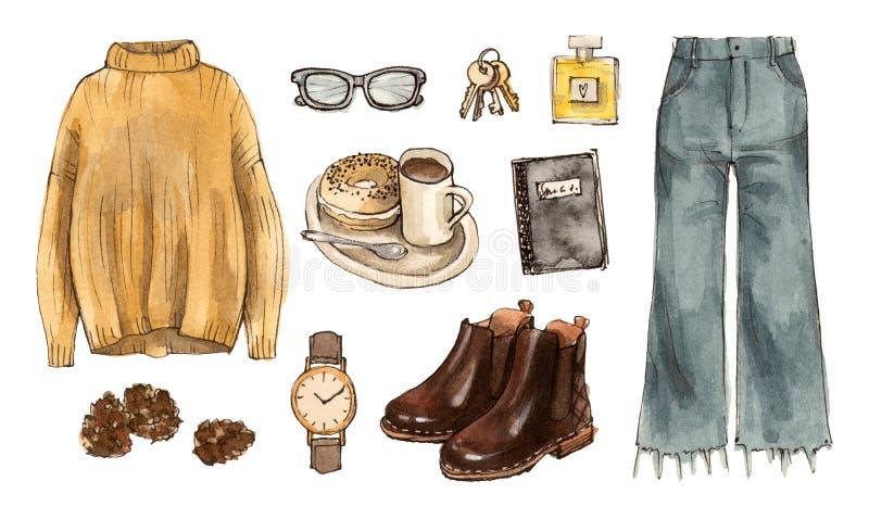 Vattenfärgmode skissar höstdräkten kläder och tillträde stock illustrationer