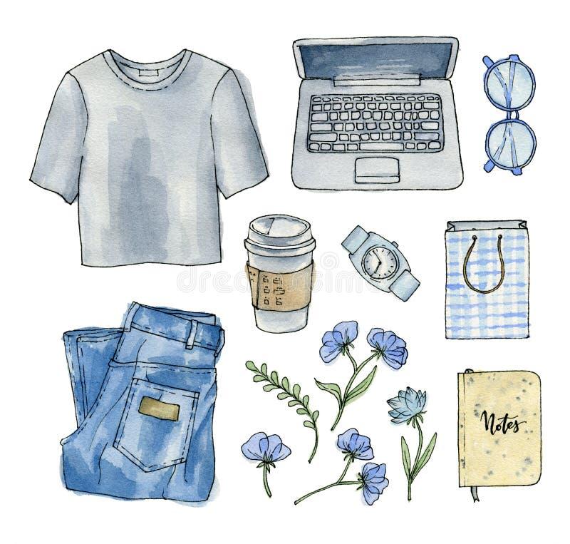 Vattenfärgmode skissar kläder och tillbehör royaltyfri illustrationer