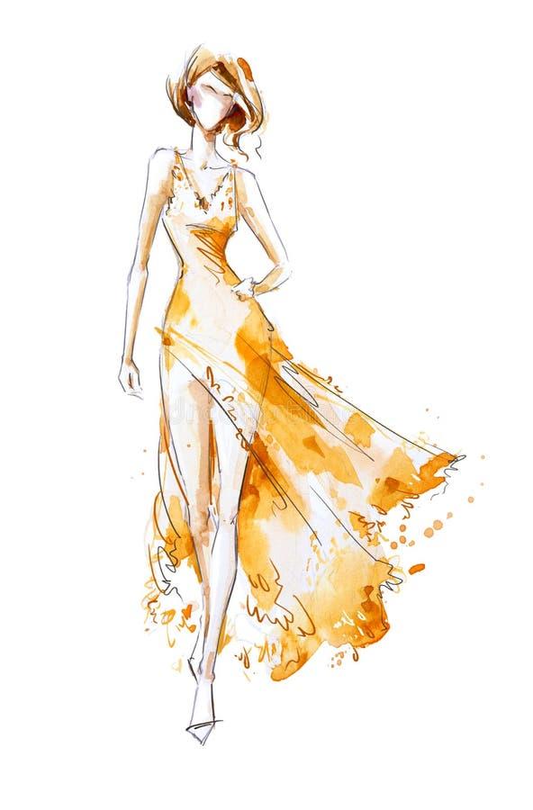 Vattenfärgmodeillustration, modell i en lång klänning royaltyfri illustrationer