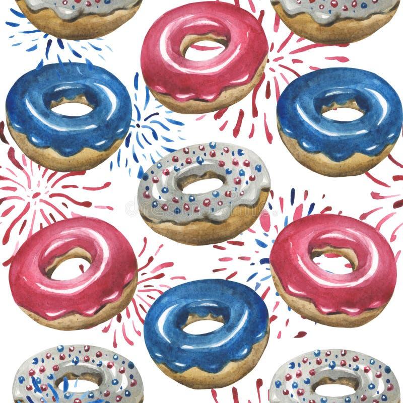 Vattenfärgmodell, glasade donuts, fyrverkerier royaltyfri illustrationer