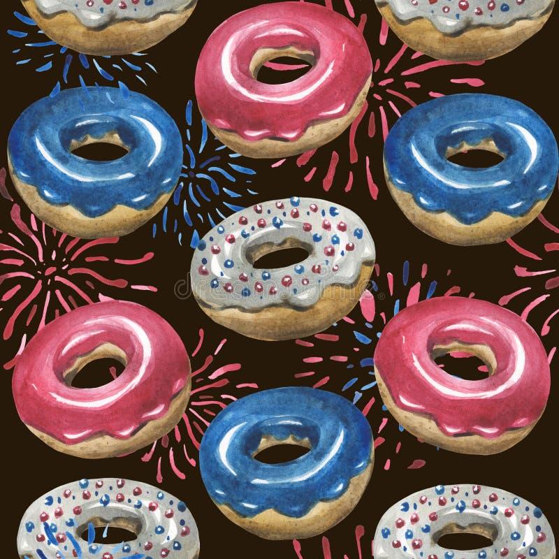 Vattenfärgmodell, glasade donuts, fyrverkerier Alla beståndsdelar i färgerna av USA flaggan stock illustrationer