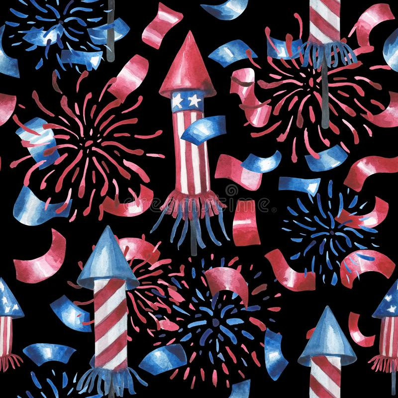 Vattenfärgmodell, honnörer, raket, konfettier stock illustrationer