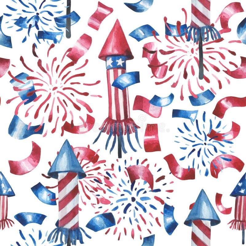 Vattenfärgmodell, honnörer, raket, konfettier Alla beståndsdelar i färgerna av USA flaggan vektor illustrationer