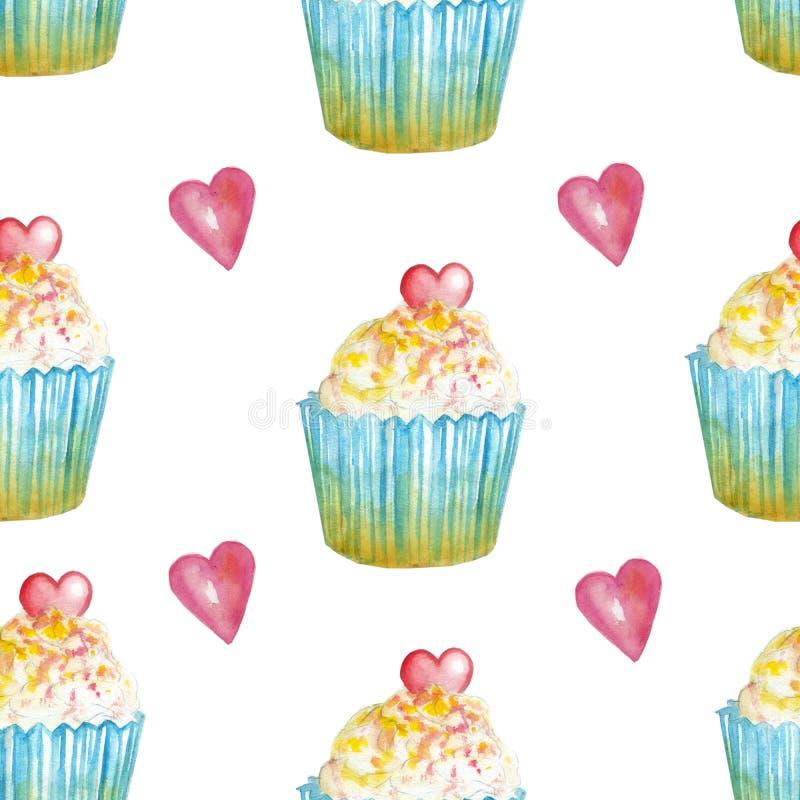 Vattenfärgmodell med muffin med rosa hjärta royaltyfri illustrationer