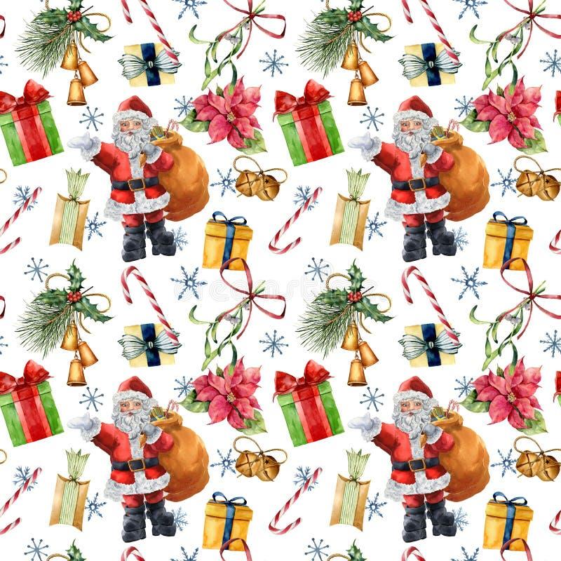 Vattenfärgmodell med Santa Claus och för jul den traditionella dekoren Räcka målad giftbox med pilbågen, godisen, klockor royaltyfri illustrationer