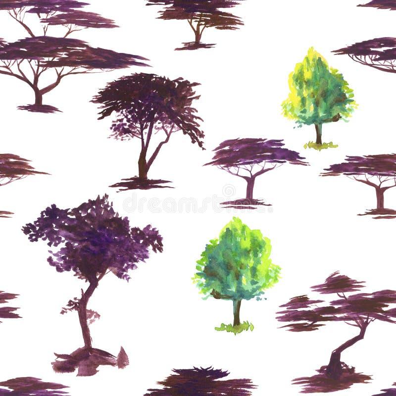 Vattenfärgmodell med trädkonturer Fokus på förgrund vattenfärg Sömlös modell för tyg, papper och annat stock illustrationer