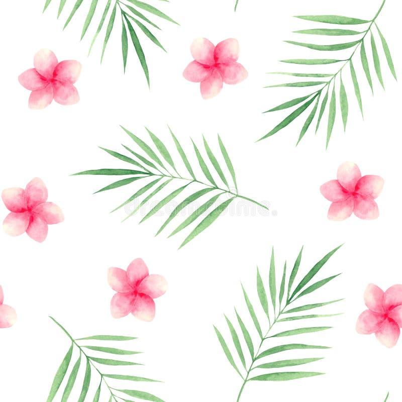 Vattenfärgmodell med tropiska sidor och blommor stock illustrationer