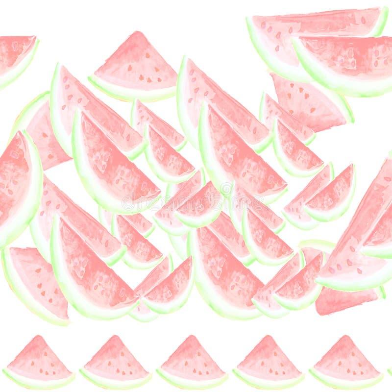 Vattenfärgmodell med vattenmelon vektor illustrationer
