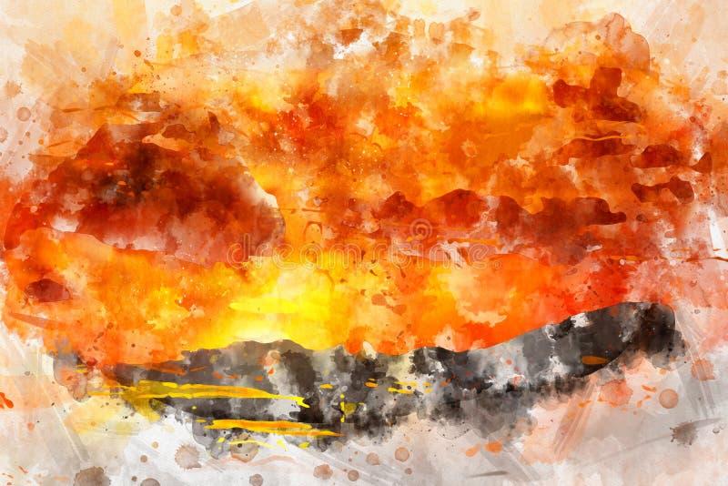Vattenfärgmodellbakgrund konst för tappningstilillustration arkivbilder