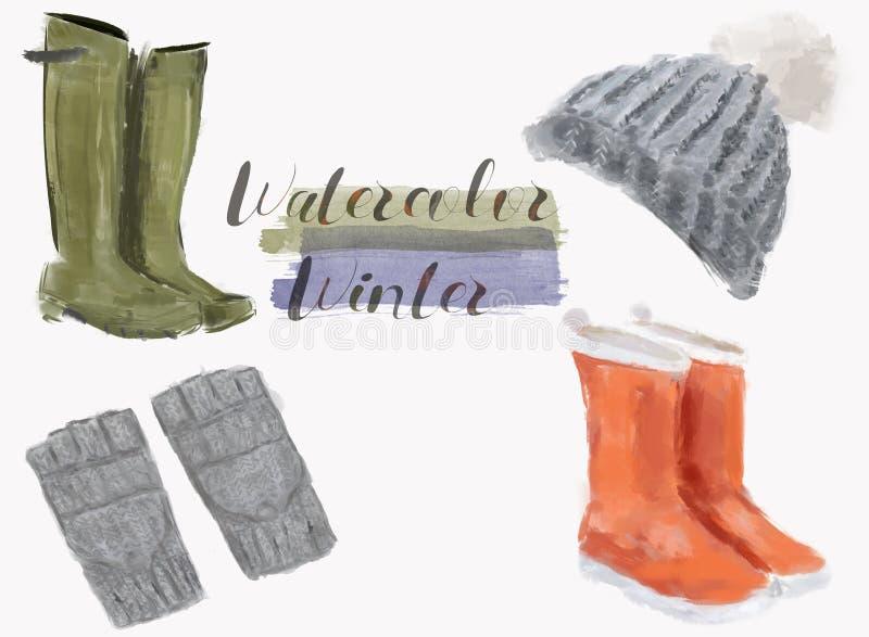 Vattenfärgmodetillbehör och kängor Illustration av handskar, stövlar och den stack hatten som isoleras på vit royaltyfri illustrationer