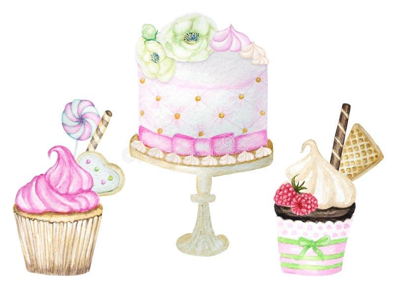 Vattenfärgmuffin och födelsedag- och bröllopvattenfärgkaka, utdragen läcker matillustration för hand, kaka som isoleras på stock illustrationer