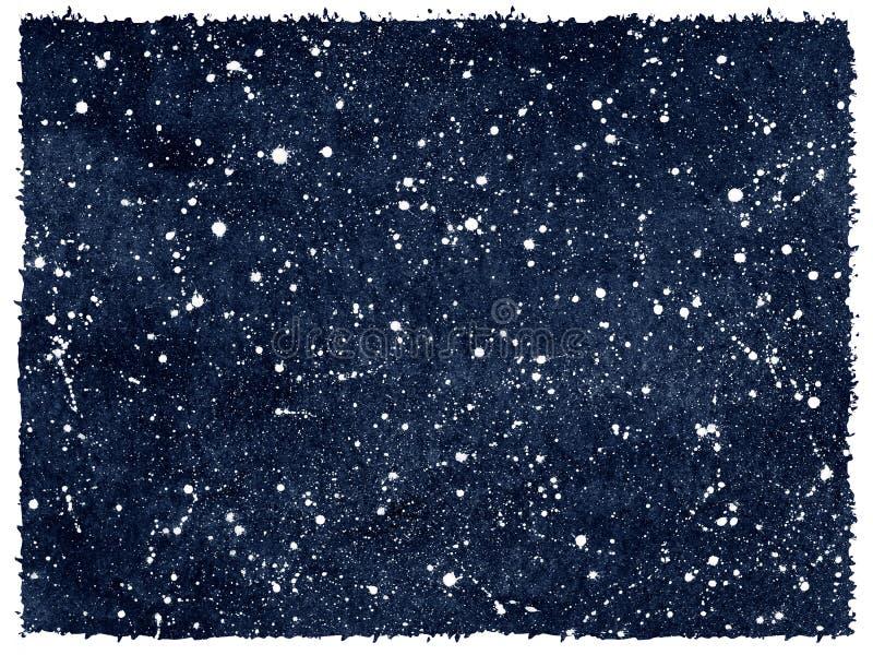 Vattenfärgnatthimmel med stjärnor och grova kanter royaltyfri illustrationer