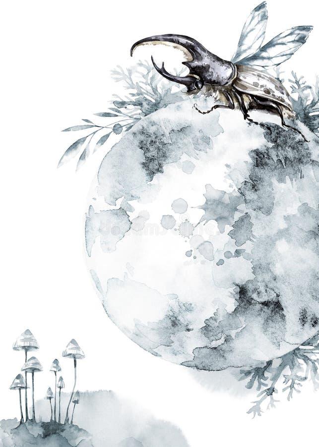 Vattenfärgnoshörningskalbagge på den mistic planeten och blom- bakgrund Djur kryp Magiskt flyg Kan skrivas ut på T royaltyfri illustrationer