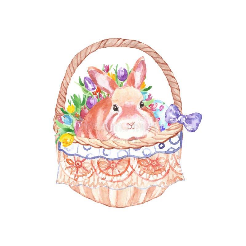 Vattenfärgpåskkorg med den gulliga kaninen och färgrika vårblommor Handen målade vårferieuppsättningen stock illustrationer