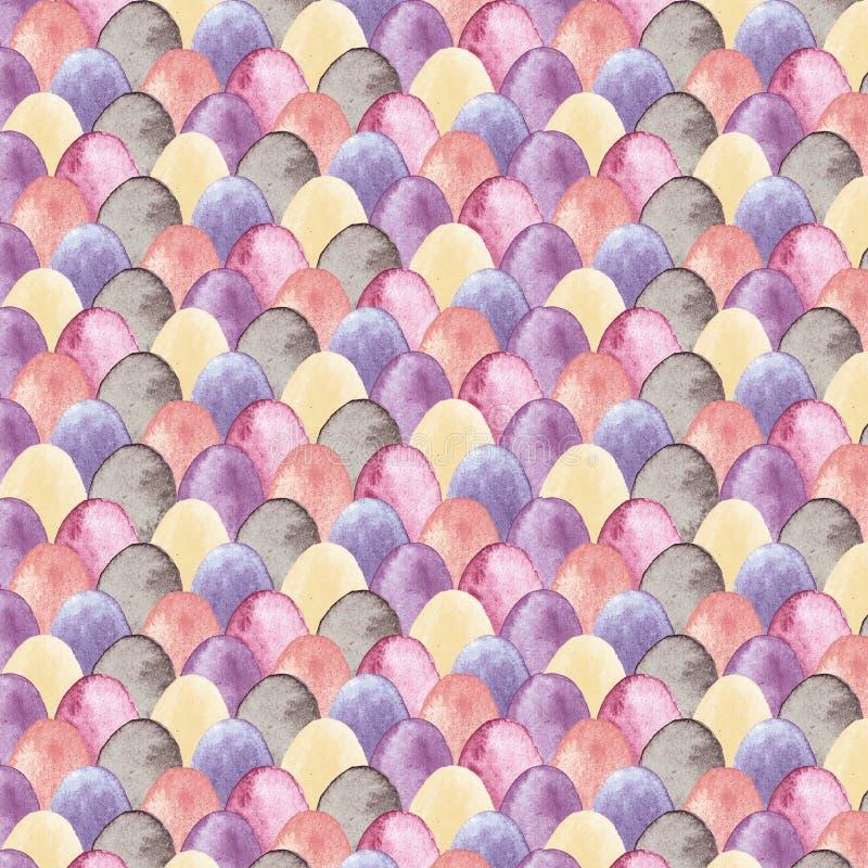 Vattenfärgpåskmodell med mångfärgade ägg royaltyfria bilder