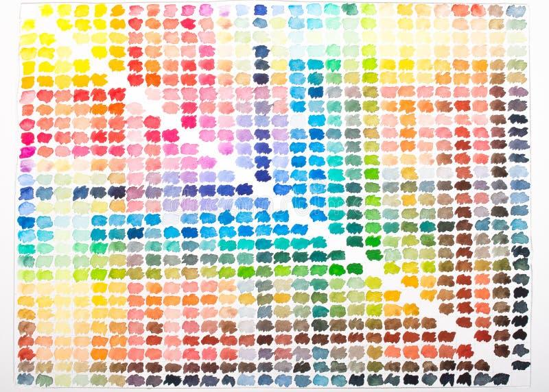 Vattenfärgpalett med färgrika färger som målning royaltyfri illustrationer