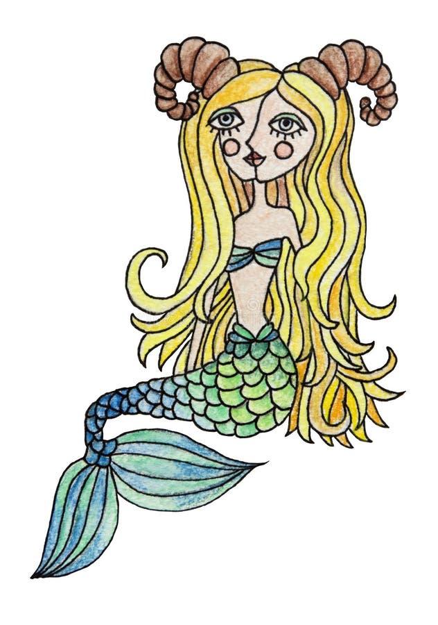 Vattenfärgpensilillustration av zodiaktecknet Stenbockenflicka med färgrikt hår bakgrund isolerad white stock illustrationer