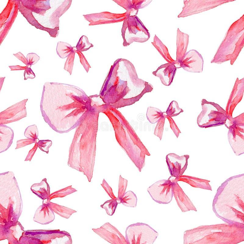 Vattenfärgpilbågar, hand drog rosa band på vit bakgrund, sömlös modell, dekorativ målning stock illustrationer