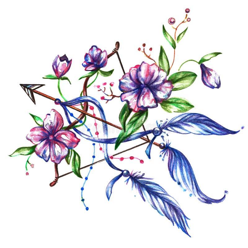 Vattenf?rgpilb?ge med blommor och fj?drar stock illustrationer