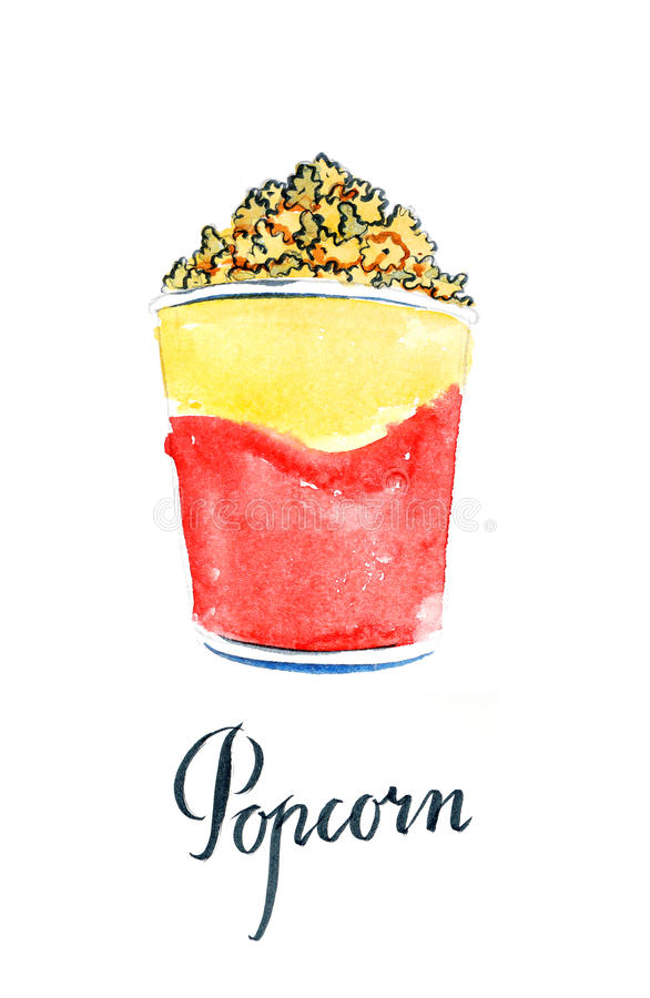 Vattenfärgpopcorn i guling-röd pappers- ask vektor illustrationer