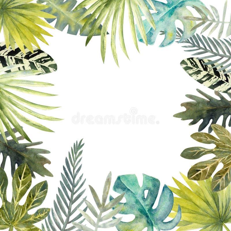 Vattenfärgram av färgrika tropiska sidor För inbjudningar, hälsningkort och tapeter vektor illustrationer