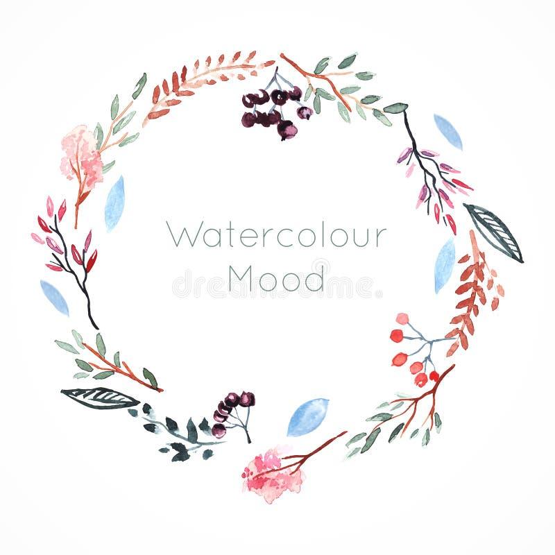 Vattenfärgram med bär och blommor royaltyfri illustrationer