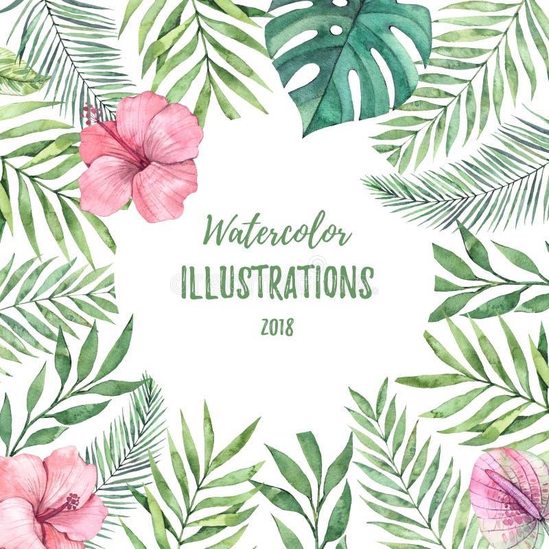 Vattenfärgram med gröna palmblad och blommor Tropisk su stock illustrationer