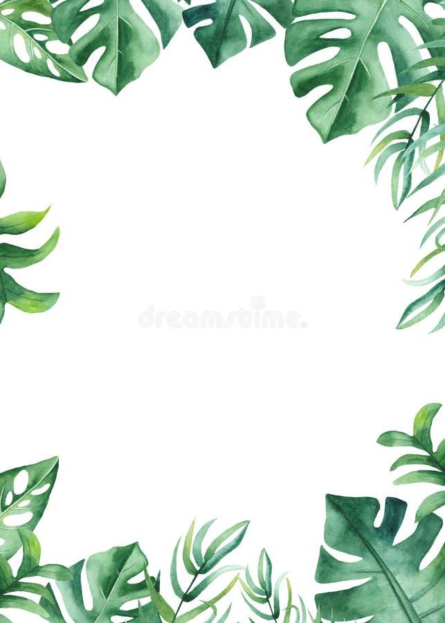 Vattenfärgram med tropiska sidor och blommor, vattenfärgfläckar vektor illustrationer