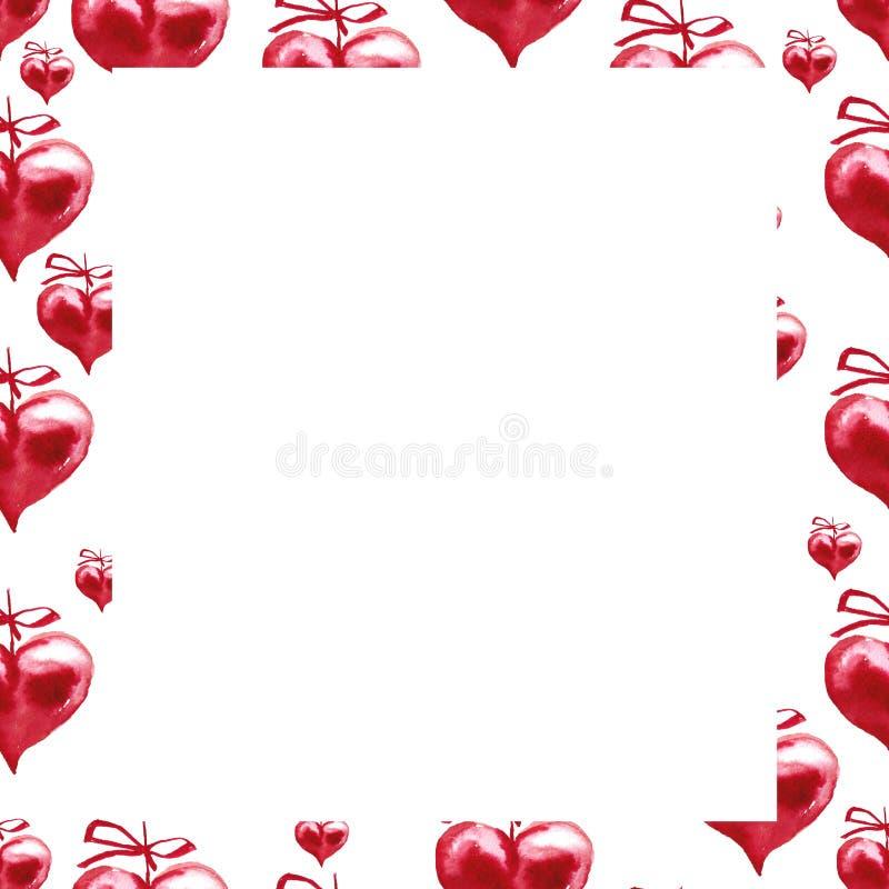 Vattenfärgram röda hjärtor Lycklig bakgrund för dag för valentin` s vektor illustrationer