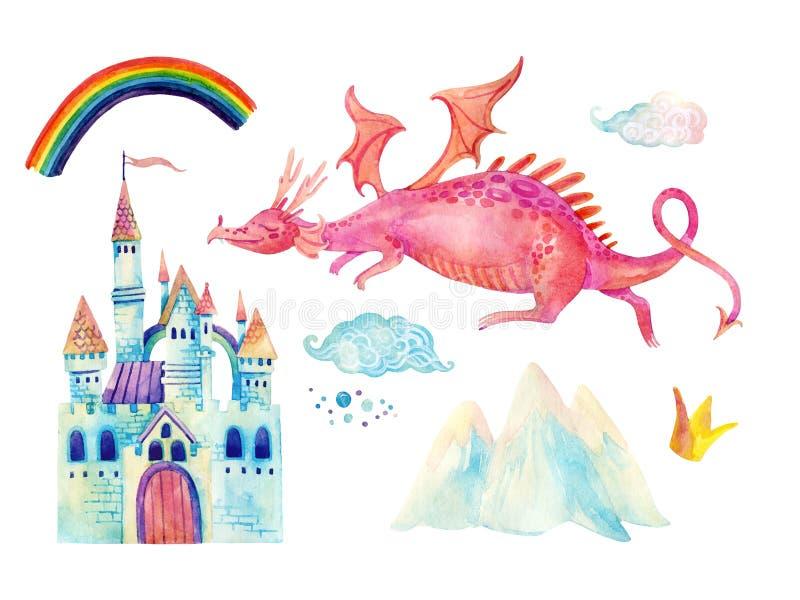 Vattenfärgsagasamlingen med den gulliga draken, regnbågen, den magiska slotten, den lilla prinsessakronan, berg och fen fördunkla vektor illustrationer
