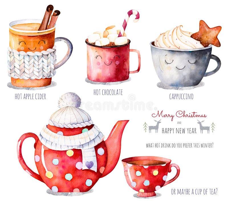 Vattenfärgsamling med ett val av varma drinkar: äppelcider te, choklad, cappuccino