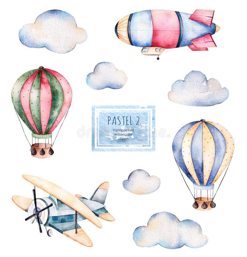 Vattenfärgsamling med luftballonger, moln, luftskeppet och nivån i pastellfärger stock illustrationer