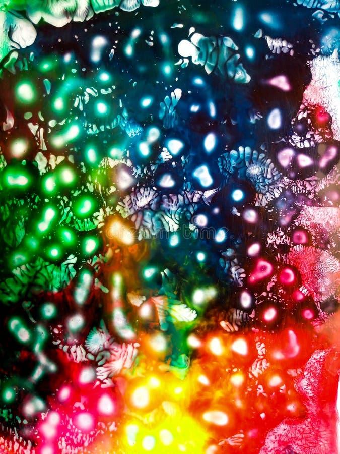 Vattenfärgsammansättning av den kosmiska himlen arkivbild