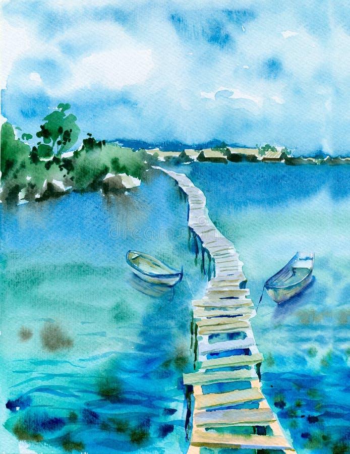 Vattenfärgseascape stock illustrationer