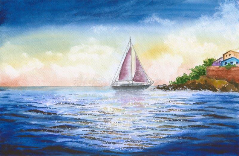 Vattenfärgsegelbåt med brusandehavet stock illustrationer