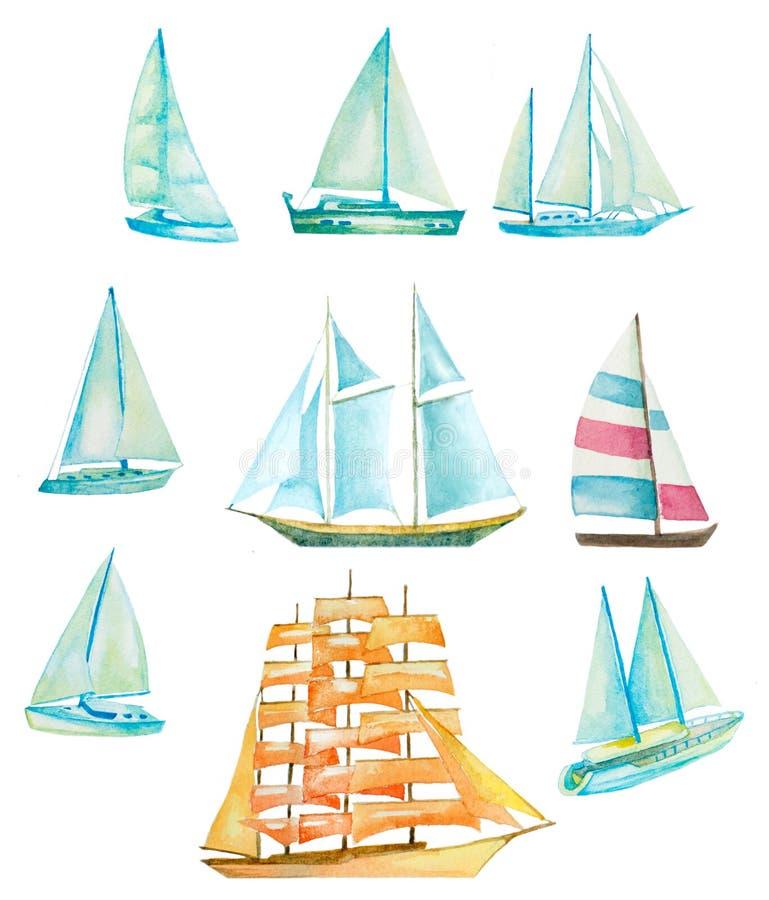 Vattenfärgsegelbåtar vektor illustrationer