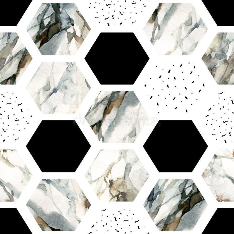 Vattenfärgsexhörning med band, marmor för vattenfärg som är grained, grunge, papperstexturer stock illustrationer