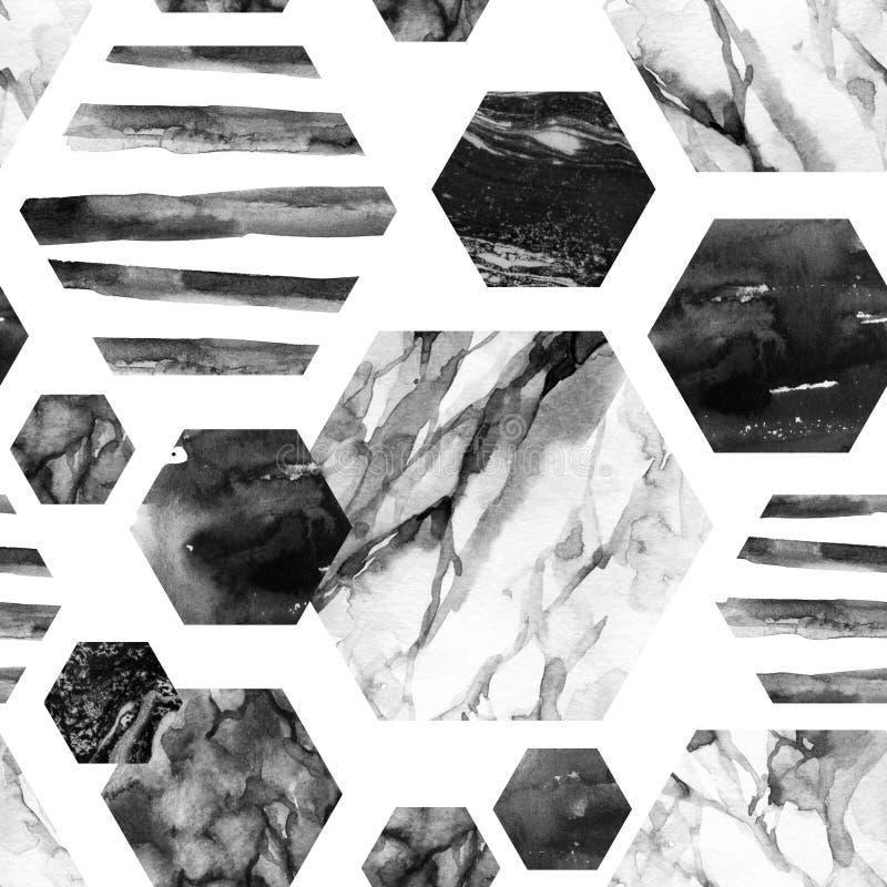 Vattenfärgsexhörning med band, marmor för vattenfärg som är grained, grunge, papperstexturer royaltyfri illustrationer