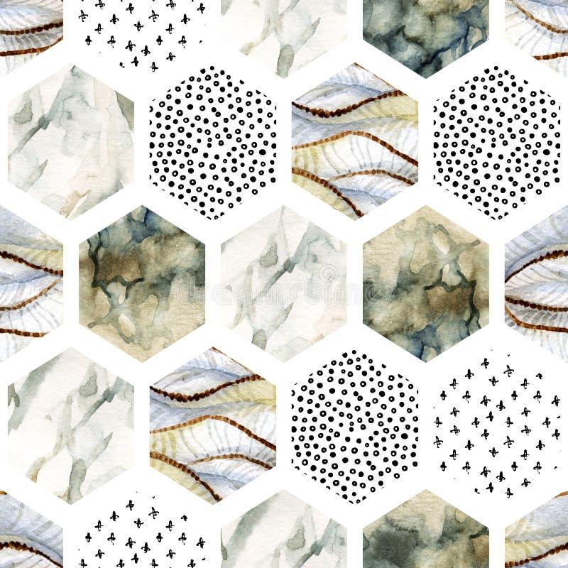 Vattenfärgsexhörning med band, våg, kurva, marmor för vattenfärg som är grained, grunge, pappers- texturer, minsta beståndsdelar royaltyfri illustrationer