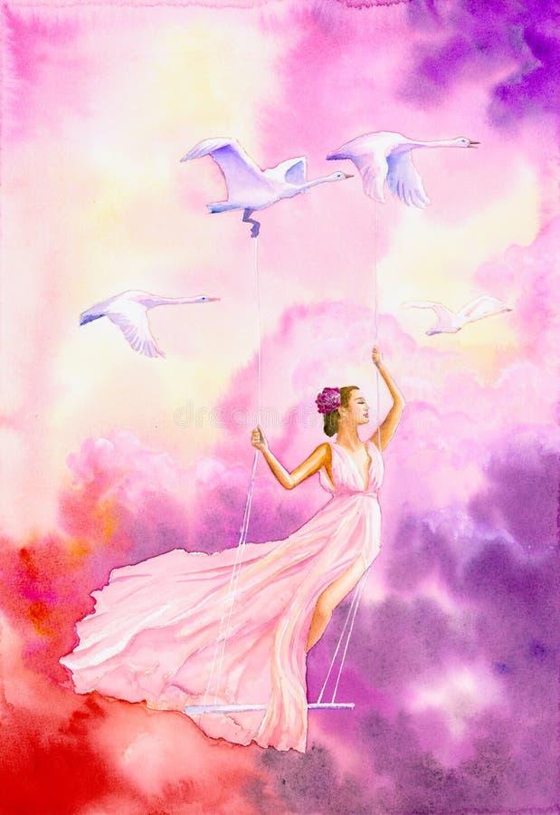Vattenfärgsfärg - Flygande dansare i dröm vektor illustrationer