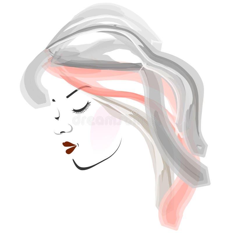 Vattenfärgsidosikt av ung kvinnas framsida royaltyfri illustrationer