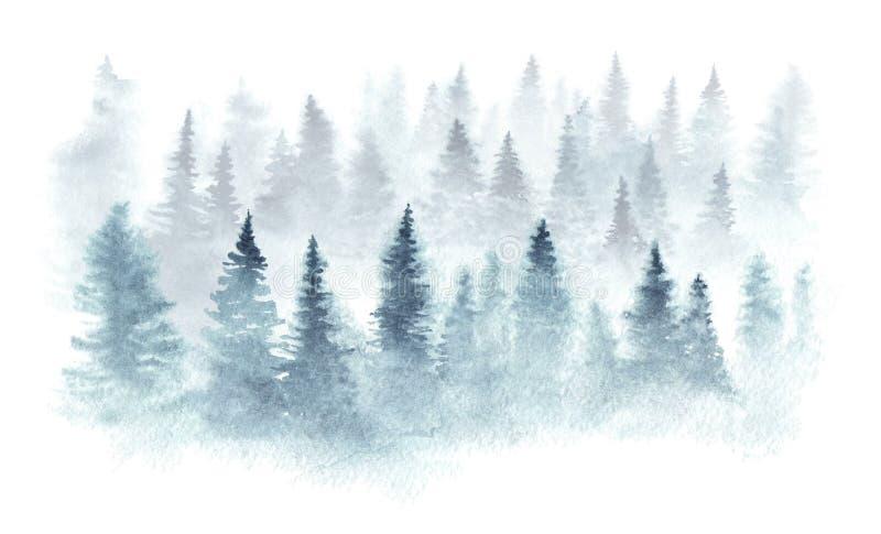 Vattenfärgskog i en dimma stock illustrationer