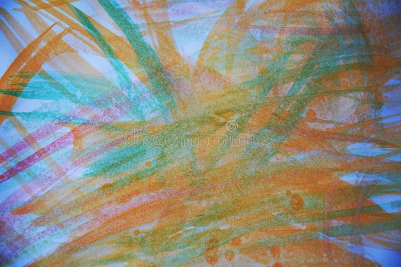 Vattenfärgslaglängder av borsten i orange toner, bakgrund arkivfoto