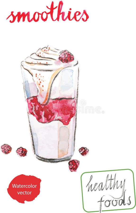Vattenfärgsmoothies stock illustrationer