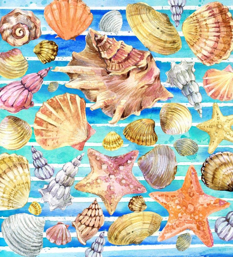 Vattenfärgsnäckskal Snäckskal på vattenfärgblåttbakgrund stock illustrationer