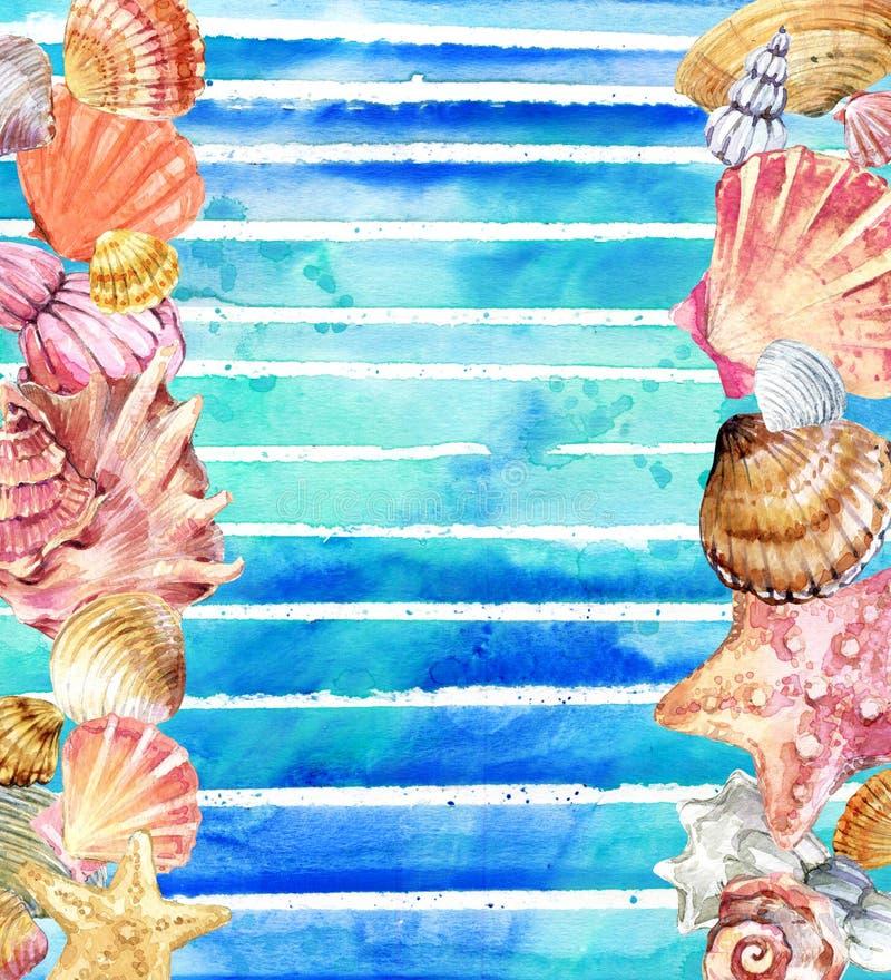 Vattenfärgsnäckskal Snäckskal på vattenfärgblåttbakgrund vektor illustrationer
