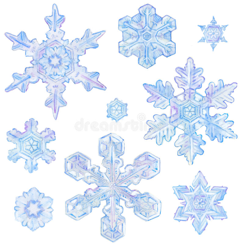 Vattenfärgsnöflingor royaltyfri illustrationer