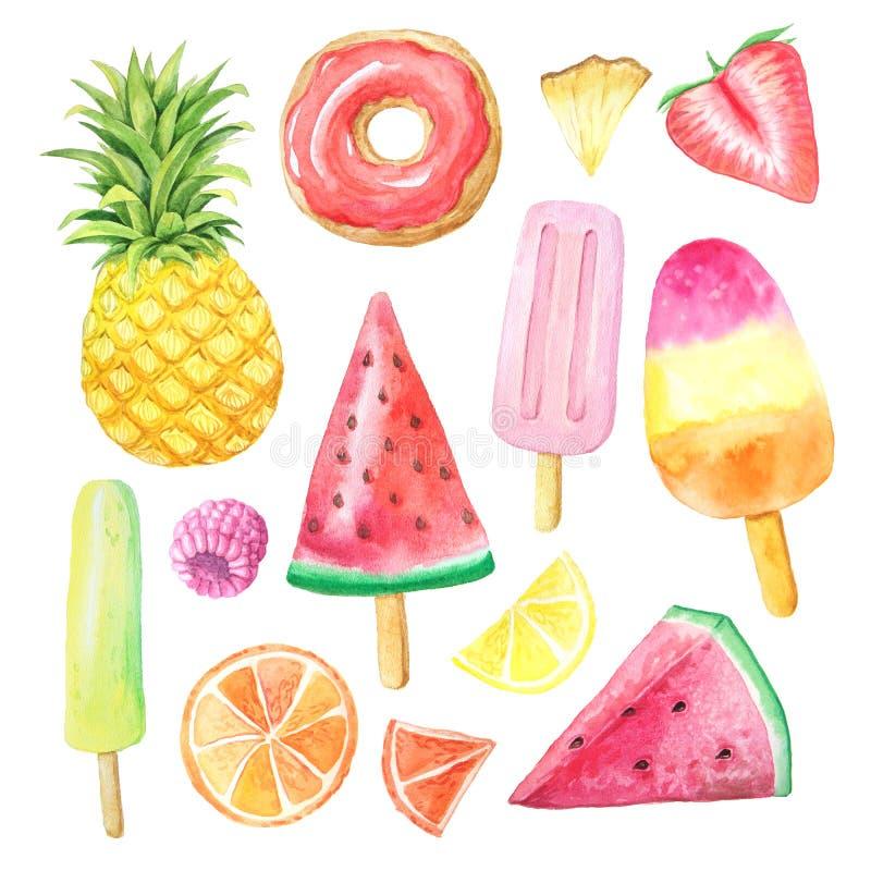 Vattenfärgsommarfrukter, munk och icecream vektor illustrationer