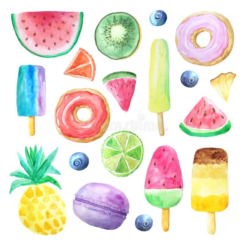 Vattenfärgsommarfrukter, munk och icecream royaltyfri illustrationer